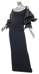 Black Maxi Dress by Dior Christian Vintage Knitorganza Puff Sleeve Gown Long 38s