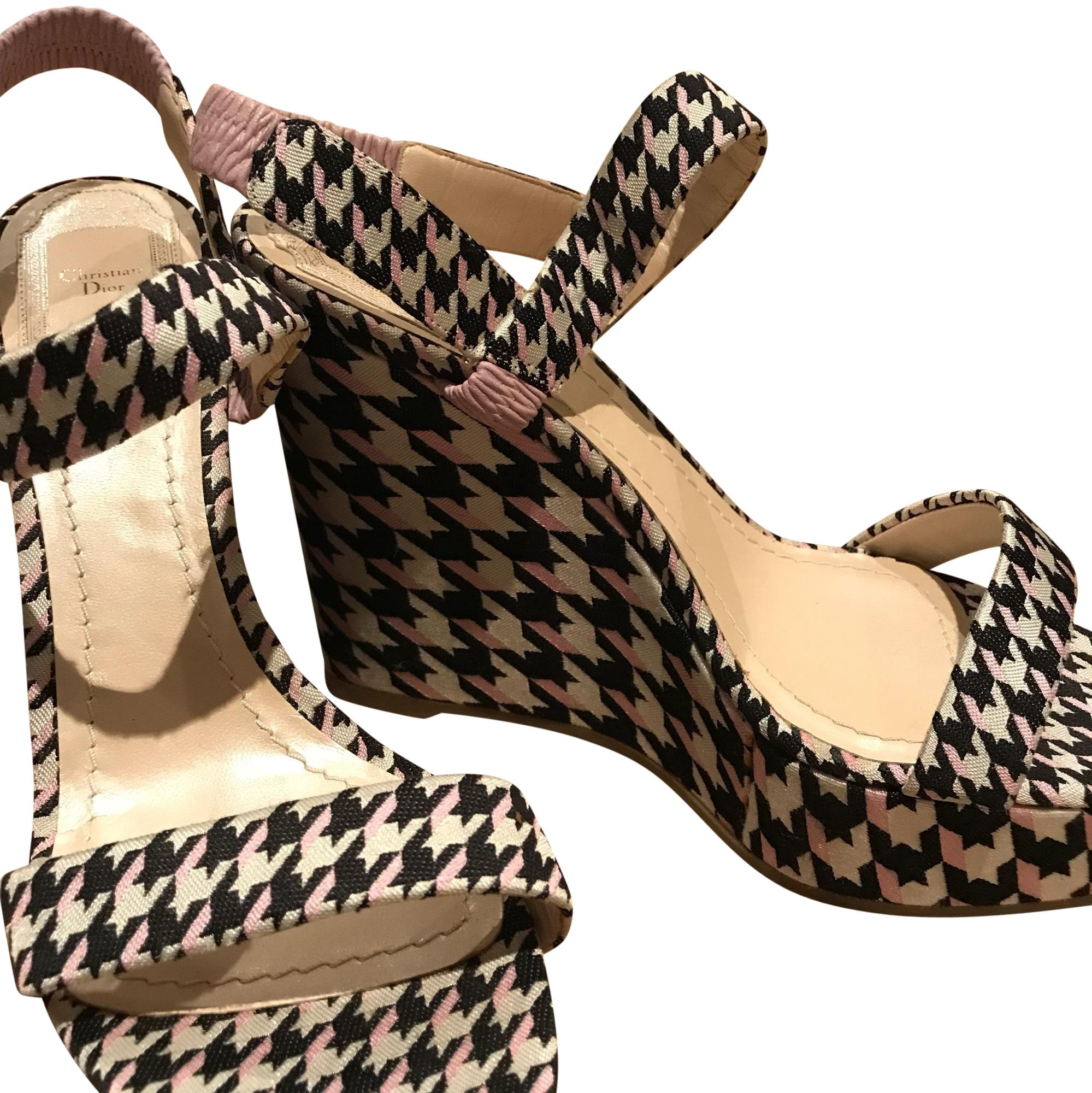 Christian Dior Printed Slingback Wedges genuine fake online discount newest 1MZbkY