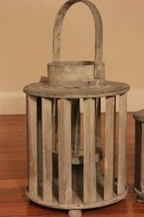Distressed Wooden Lantern Cylinder Hurricane Candle White Gray Grey Beach Wedding Nautical Rustic 12