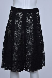 DKNY Womens Floral Lace A Line Knee Length Party Skirt Black