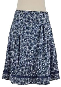 DKNY Womens Ivory Floral Skirt Blue