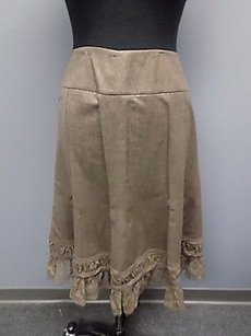 DKNY Mocha Wool Blend Mid Length Fitted Lace Trim A Line 851a Skirt Brown