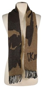DKNY Dkny Womens Brown Knit Scarf One Wool Fringe