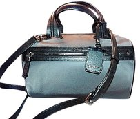 DKNY Convertible Round Barrel Nylon With Ego Leather Steel Satchel in Gray & Black