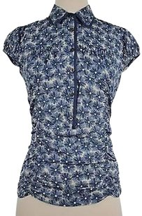 DKNY Womens Blue Floral Top Multi-Color