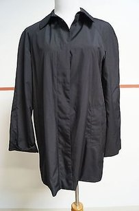 DKNY Black 100 Poly Long Trench Coat