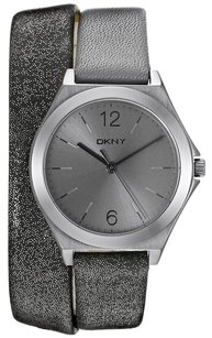 DKNY Women's DKNY Parsons Mulit Band Three Hand Grey Leather Watch NY2376