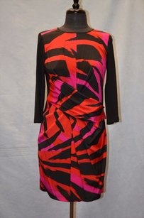 DKNY Silk Black Pink Dress