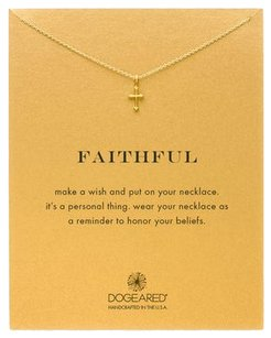 Dogeared Dogeared Faithful Gothic Cross Necklace, Gold Dipped, 16 inches