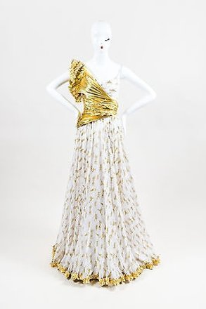 well-wreapped Dolce&Gabbana Dg Dolce Gabbana White Gold Silk Lame Pleated Contrast Rope Print Gown