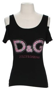Dolce&Gabbana Open Graphic Embellished T Shirt Black