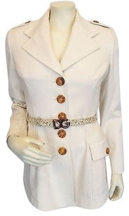Dolce&Gabbana Dolce Gabbana Cream Cotton Blazer With Snakeskin Belt 4-640-42