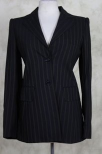 Dolce&Gabbana Dolce Gabbana Womens Black Tan Blazer 44 Wool Jacket Striped