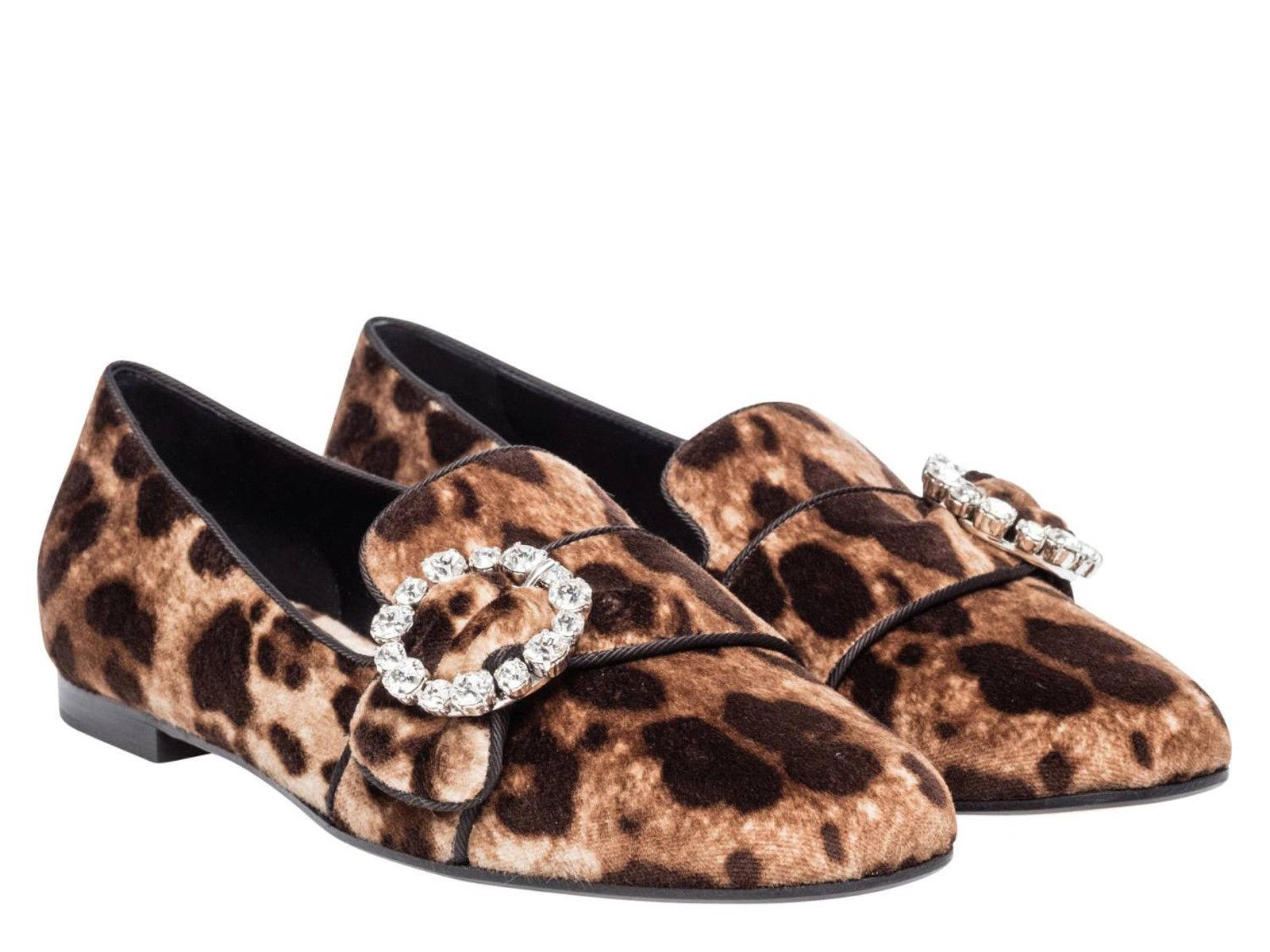 a0ee8bade6ae Dolce Gabbana Loafers In Leopard Print Velvet Flats Flats Flats Size US 6  Regular (M