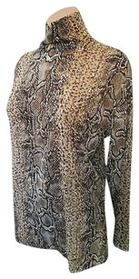 Dolce&Gabbana Long Sleeve Sheer Chiffon Snake Print Silk W High Neck Top Camel and black