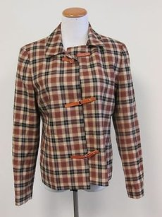 Doncaster Doncaster Browns Tan Plaid Wool Long Sleeves Lined Hook Front Blazer F217