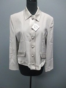 Doncaster Doncaster Light Gray Wool Lined Button Front Dressy Jacket Blazer Sm4045
