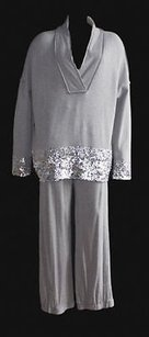 Donna Karan Silver Sequin Sweater 2pc Casual Jogging Suit Hs2753 Sweatshirt