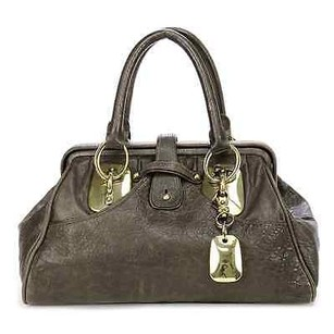 Donna Karan Leather Satchel in Nutria (brown)