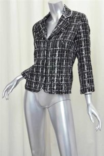 Douglas Hannant Black White Sequin Beaded Silk Plaid Blazer Coat Multi-Color Jacket