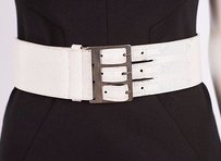 Dries van Noten Dries Van Noten White Crackle Shiny Leather Three Buckle Wide Thick Belt 700xs