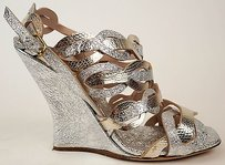 Dries van Noten Metallic Leather Wedge Heels Silver & Gold Sandals