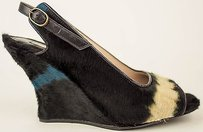 Dries van Noten Black White Turquoise Pony Hair Slingback Wedge Eu37 Multi-Color Pumps