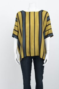 Dries van Noten Silk Stripe Print Top Green