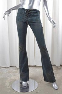 Duarte Womens Blue Cotton Flare Leg Jeans