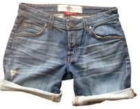 Easy Money Jean Company Boyfriend Button Fly Denim Shorts-Medium Wash