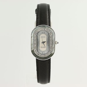 Ecclissi Ecclissi Wristwatch - Diamonds Sterling Silver Stainless Steel Black Leather