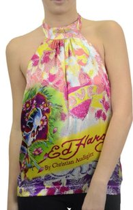 Ed Hardy Silk Charmeuse Multi-Color Halter Top