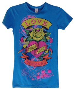 Ed Hardy Children Rhinestones Cotton T Shirt Turquoise