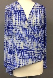 Eight Sixty White Tie Dye Polyester Long Sleeve Faux Wrap Sma 3393 Top Blue