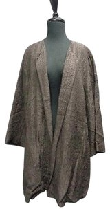 Eileen Fisher Long Sleeved Open Front Crushed Sma10621 Charcoal Jacket