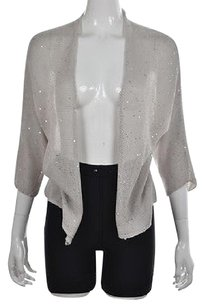 Eileen Fisher Womens Cardigan Sequined Cotton Party Sweater