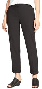 Eileen Fisher Wool Cuffed Pleated Trousers Relaxed Pants Black