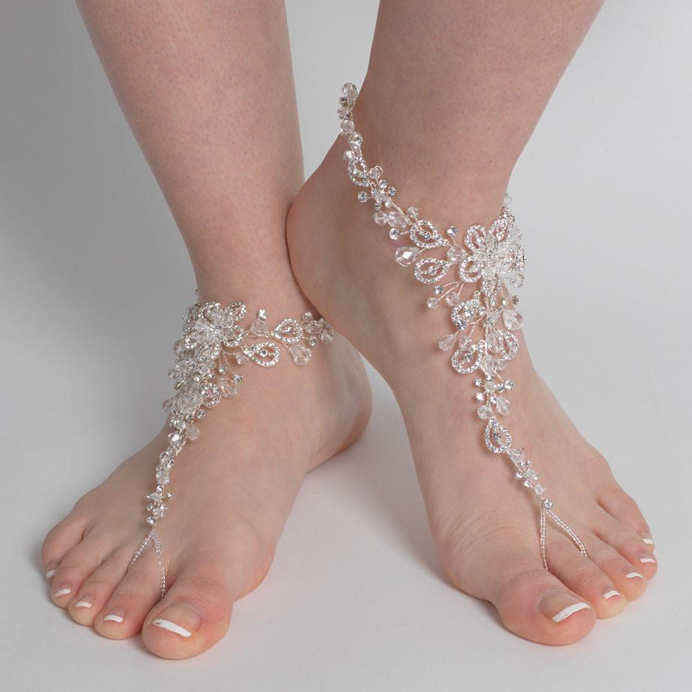 Elegance by Carbonneau Silver Swarovski Beach Wedding Barefoot