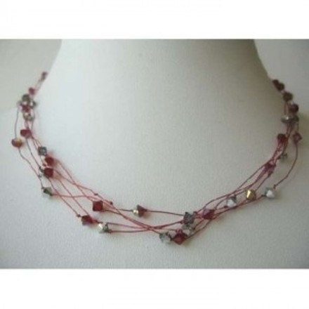 Red Elegant Necklace Synthetic Thread Nylon Multi Strand Siam Crystals Jewelry Set