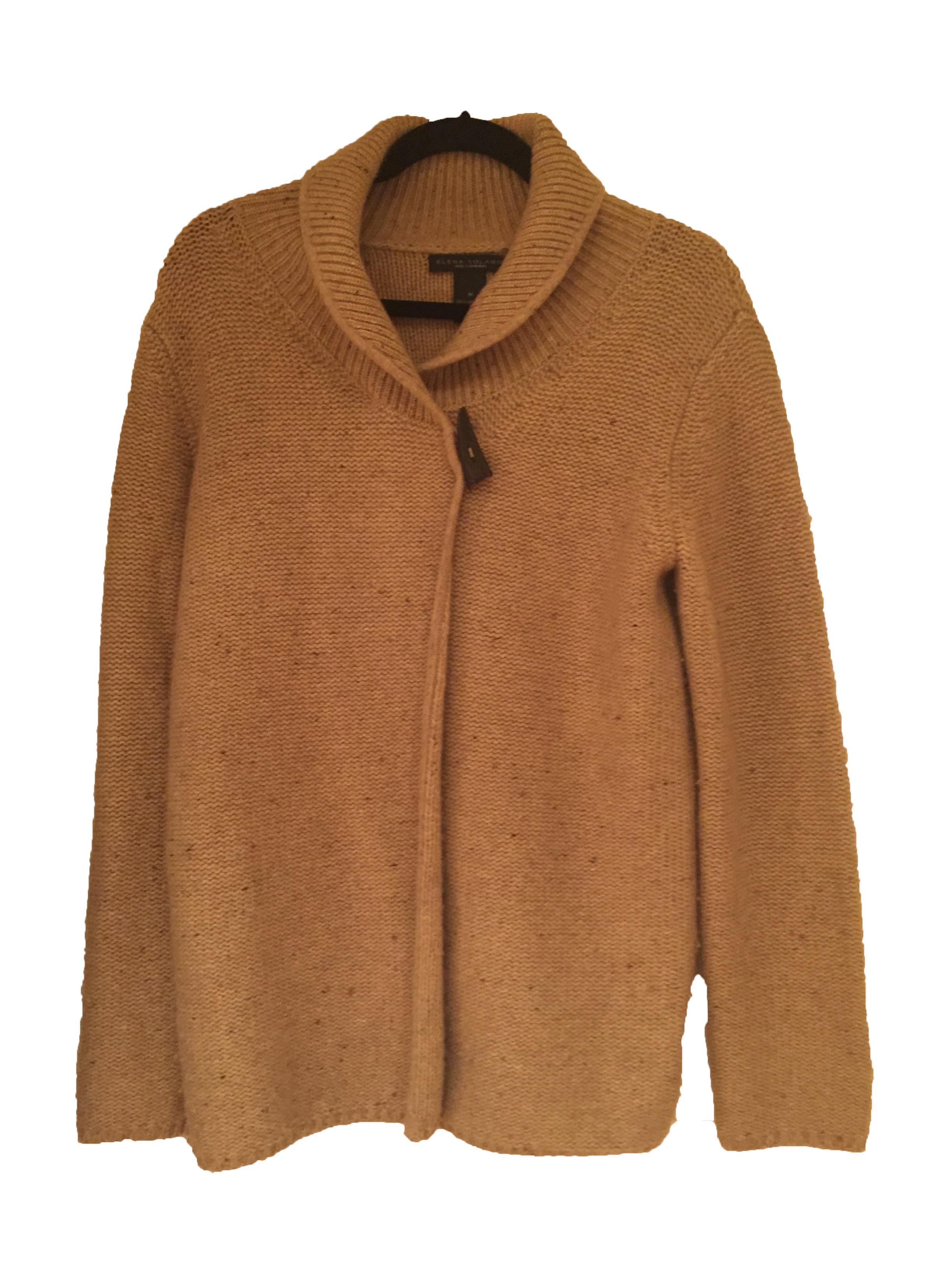 Elena Solano Tan Cashmere Horn Toggle Button Sweater Cardigan Size ...