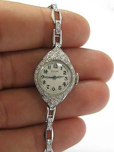 Elgin Platinum Vintage Elgin Diamond Watch .90ct