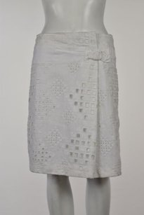 Elie Tahari Abigail Womens A Line Linen Knee Length Casual Skirt White