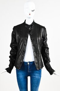 Elie Tahari Leather Black Jacket