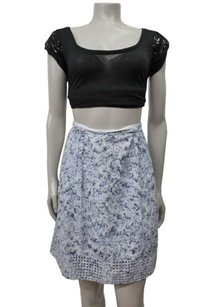 Elie Tahari White Floral Skirt Blue