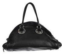 Elie Tahari Womens Textured Leather Handbag Satchel in Black