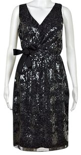 Elie Tahari Womens Sheath Sequined Knee Length Formal Dress