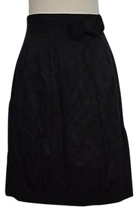 Elie Tahari Womens Solid Above Knee Blend Straight Skirt Black