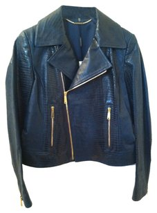 Elie Tahari Teal Green Leather Jacket