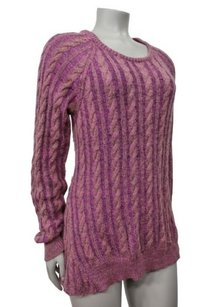 Elizabeth and James Textile Boat Neck Bacle Multi Yarn Cable Knit Sweater