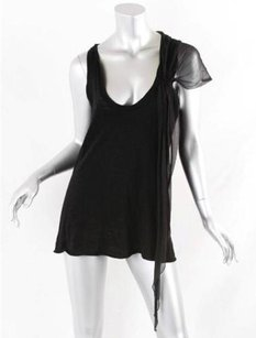 Elizabeth and James Cottonsilk Knit Sleeveless Shirt Top Black